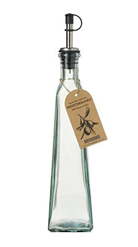 Mediterraneo, bottiglie di olio e aceto in vetro riciclato con beccuccio per versare, Vetro, Verde, 350ml
