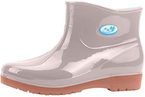 Damen Kurze Gummistiefel Flache Regenstiefel Kurzschaft Stiefel Bequeme Regenschuhe Schlupfstiefel wasserdichte Gummistiefeletten Celucke (Beige, 38 EU)
