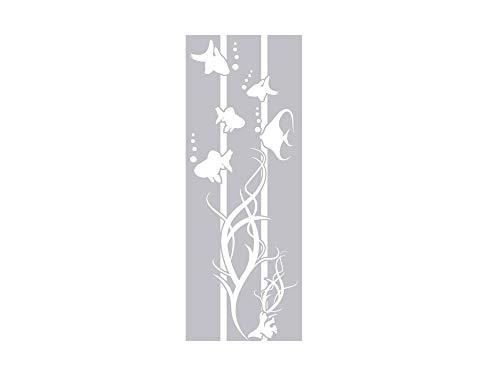 GrazDesign 980191 Raamtattoo vissen met algen en luchtbellen | Raamfolie voor de badkamer - Glastattoo voor douche