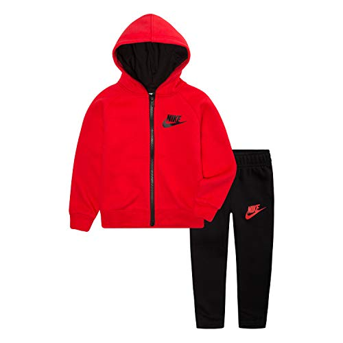 NIKE Children's Apparel Baby Boys Hoodie and Joggers 2-Piece Outfit Set, Black/University Red, 24M