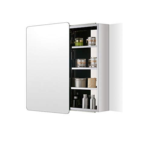 GXFC Bad Spiegelschrank, Rahmenloser Badezimmerschrank aus Edelstahl zur Wandmontage, mit verstellbarem Regal und Schiebetüren, Sicherheitsrunde Ecke