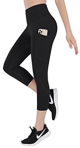 ESPIDOO Women's High Waisted Yoga Pants, Tummy Control Workout Pants for Women, 4 Way Strench Yoga Capris with Pockets, L