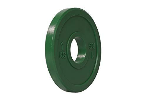 LORSOSPORT Hantelscheiben, bunt, olympisches Gewicht, 5,1 cm, für Workout, Powerlifting, verkauft als Paar, 2 x 1 kg, Variationen: 2 x 0,5 kg, 2 x 1 kg, 2 x 1,5 kg, 2 x 2 kg, 2 x 2,5 kg.
