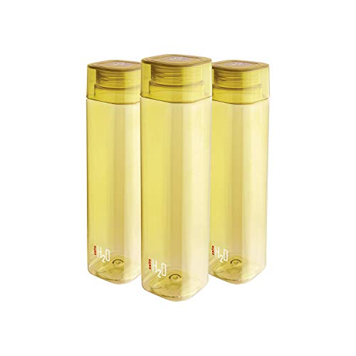 Cello H2O Squaremate Plastic Water Bottle, 1-Liter, Set of 3, Yellow