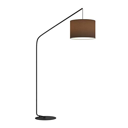 Lámpara de pie 'Viskan' (Moderno) en Negro hecho de Textura, Tela, Tejido, Seda e.o. para Salón & Comedor (1 llama, E27, A++) de Lindby | lámpara de arco, lámpara de pie