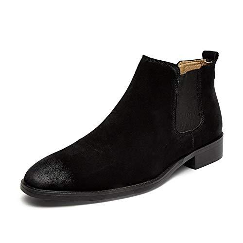 ShanShan Mu Retro enkellaarsjes for mannen Chelsea Boot Trek aan Suede Puntschoen Block Heel Burnished Style elastische zijkanten (fleece gevoerde optioneel) (Color : Buff, Size : 40 EU)