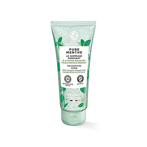 Yves Rocher PURE MENTHE Klärendes Peeling, Gesichtspflege mit Bio-Pfefferminze, für strahlende Haut, 1 x 75 ml Tube