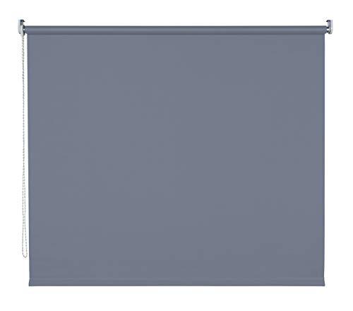 Klemmfix Rollo Kettenzugrollo Seitenzugrollo Farbwahl Fenster Tür Montage ohne Bohren Breite 62-202 cm Länge 180 cm und 240 cm halbtransparent klemmbar Metall Klemmträger (142 x 180 cm / Dunkelgrau)