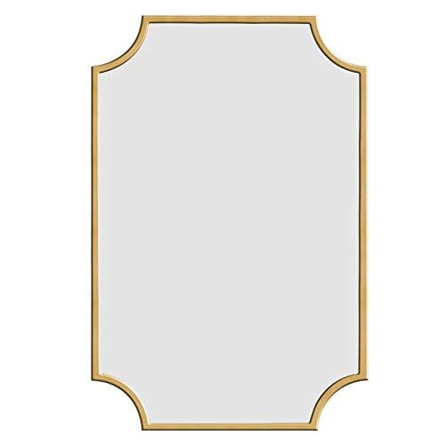 Badkamerspiegel LDFZ 70 x 100 cm badkamerspiegel, eenvoudige en moderne spiegel, grote spiegel, hoogwaardige houten lijst, goudkleurig