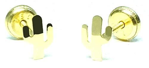 Pendientes Oro de Ley Certificado. Niña/Mujer. Cactus. Cierre de seguridad. Medida 4.5x6.5 mm. (4-4806-5)