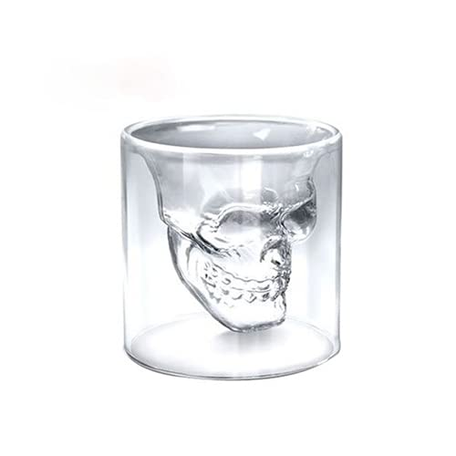 LOOPIG Creative Skull Glass Whisky Vodka Vino Botella de cristal de bebidas espirituosas Copas de vino transparente