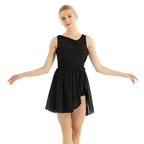 iixpin Damen Chiffon Ballettkleider Ballett unregelmäßig Rock Tanz Trikot für Frauen Ballettanzug Tanzkleider Trikotanzug Tanzanzug Schwarz X-Large