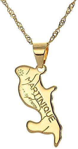 NC188 Mapa Colgante Collar para Mujer Hip Hop Oro Acero Inoxidable Martinica Mapa Colgante Collar con Cadena de Oro joyería de la Amistad Regalo para Hombres Mujeres