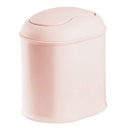 mDesign Práctica Papelera con Tapa giratoria – Elegante Cubo de baño Fabricado en plástico rígido – Compacta Papelera basculante para baño, despacho y Cocina – Rosa