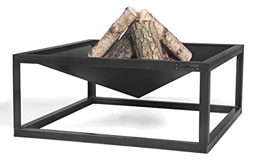 Cookking - Brasero cuadrado de acero para jardín y terraza, color negro, 30 x 70 x 70 cm