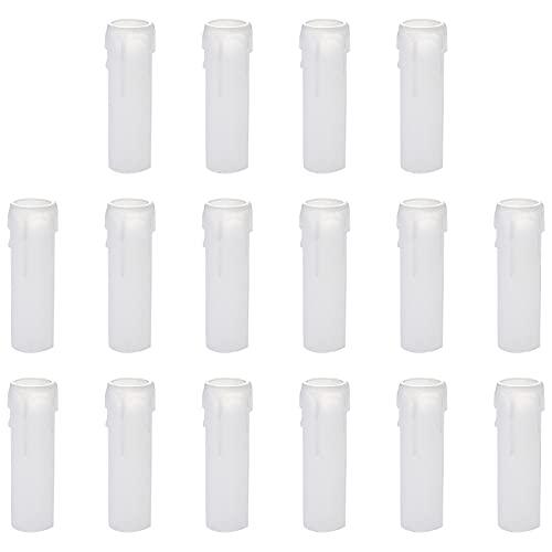 Dzmuero Portalamparas Tipo Vela Tubos de Vela Manga para Vela de Lamparas para Decoración Navideña Candelabros de Cristal Velas LED Candelabro Luz de Pared Lámpara , 16 Pcs(10cm x 3cm)