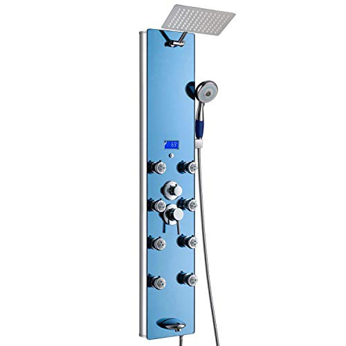 AKDY 52 In. 8-Jet Multi-function Tempered Glass Shower Panel System In Blue With Adjustable Rainfall Shower Head tub spout 4-Spary handheld showerhead & Temperature Display