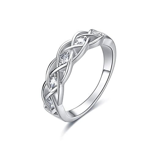 Anillos de nudo celta Anillo de giro de nudo de plata esterlina Simple Criss Cross Infinity Alianza de boda Celtics Joyería Regalos para mujeres Niñas Novia
