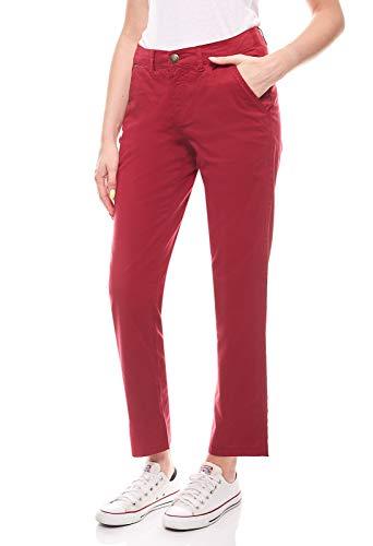 sheego Pantaloni Pantaloni Chino Pantaloni in Cotone da Donna alla Moda con Tasche Laterali Taglia Corta Taglia Grande Rosso Vino, Dimensione:56 (28 Kurzgröße)