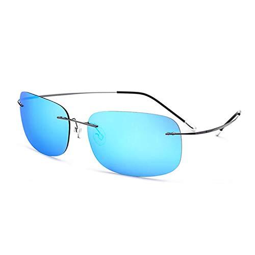 TJLY Unisex-Sonnenbrille UV-Schutz 400 Schutz ohne Schrauben Platz randlose Brille, Piloten, Reisen, Einkaufen,Blue