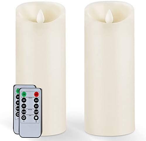 5Plots 9 x 3 Wax Flameless Candles Amber Yellow Flickering LED Candles Battery Operated with product image