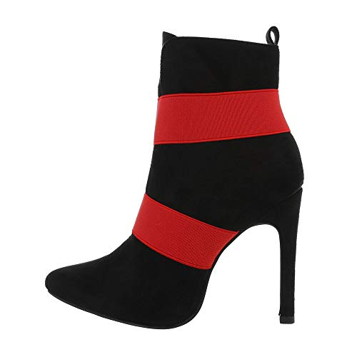 Ital-Design Damenschuhe Stiefeletten High Heel Stiefeletten Synthetik Schwarz Rot Gr. 36