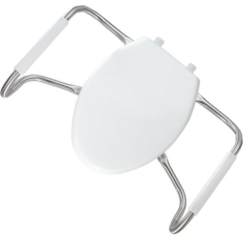 BEMIS MA2100T Medic-Aid Closed Front Toilet Seat with Safety Side Arms and Cover, ROUND Long Lasting Solid Plastic, White