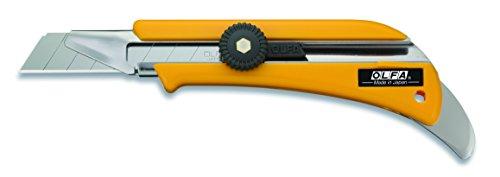 Olfa 100702 Cúter con cuchilla de 18 mm, bloqueo de rueda y canal extendido para cortar a través de diferentes grosores, negro, 18mm cutter ol mit stahldorn