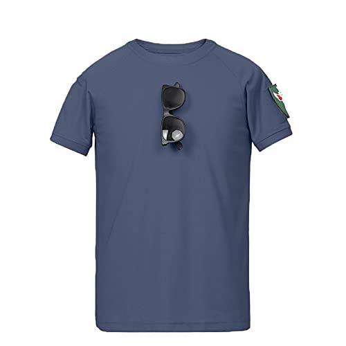 Streetwear Uomo Regular Fit Girocollo Splicing Uomo T-Shirt Estate Basic Girocollo Stampa Moda Manica Corta Uomo Shirt Moda Tendenza Uomo Shirt Casual D-Blue L