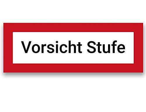 Aufkleber Vorsicht Stufe 20x7cm Schild, Warnung vor Stolper-Sturz-Gefahr