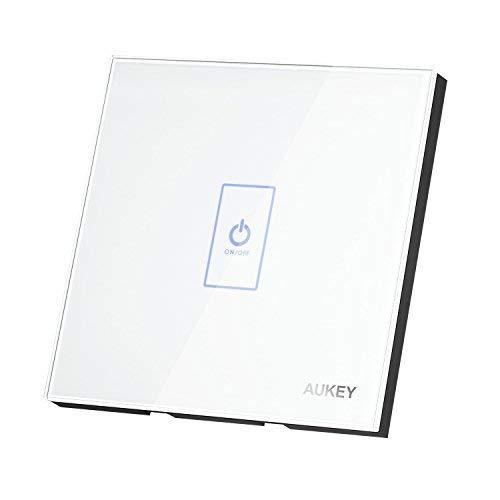 Aukey Interrupteur de lumière, mural et tactile, avec panneau en verre, LED et capteur inductif de toucher électrostatique, Blanc