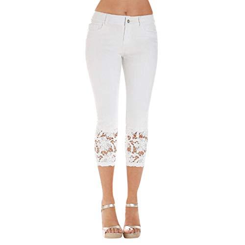 WOZOW Jeans Damen Capri Jeanshose Distressed Patchwork Spitze Lace Cuff Röhrenjeans Solid Einfarbig Casual Long Dünn Skinny Leggings Gamaschen Slim Stoffhose Tapered Trousers (2XL,Sahne)