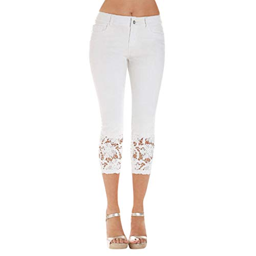 WOZOW Jeans Damen Capri Jeanshose Distressed Patchwork Spitze Lace Cuff Röhrenjeans Solid Einfarbig Casual Long Dünn Skinny Leggings Gamaschen Slim Stoffhose Tapered Trousers (L,Sahne)