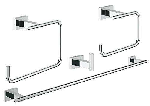 Grohe Essentials Cube Set Accessori Bagno 4 in 1, Ottone, Cromo, con 4 Pezzi
