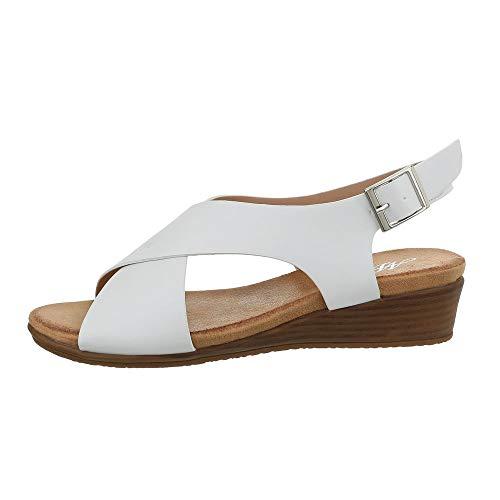 Ital-Design Damenschuhe Sandalen & Sandaletten Keilsandaletten Synthetik Weiß Gr. 39