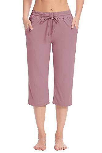 Poetsky Capri Yoga Pants for Women Wide Leg Elastic Waist Drawstring Workout Crop Sweatpants Comfy Lounge Pants with Pockets (Manve, XL)