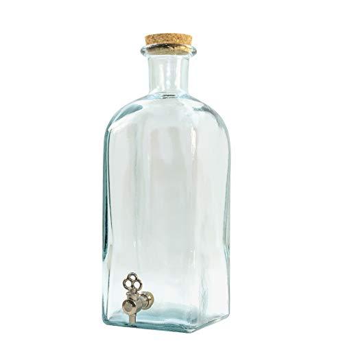Frasca de Cristal de 2 litros con Grifo metálico y tapón de Corcho – Dispensador de Bebidas – Práctica y Decorativa - USADA