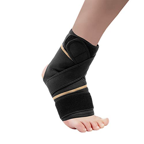 Copper Fit Rapid Relief Ankle & Foot Wrap with Hot/Cold Pack, Black, One Size Fits Most