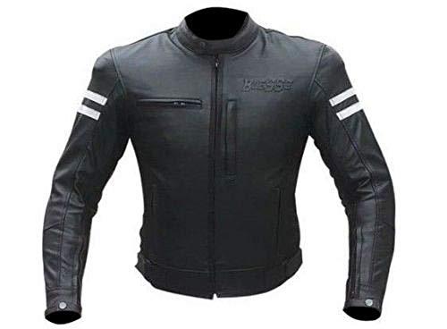 BIESSE - Blouson moto en cuir, homme, vintage café race, avec protections CE 3XL noir/blanc