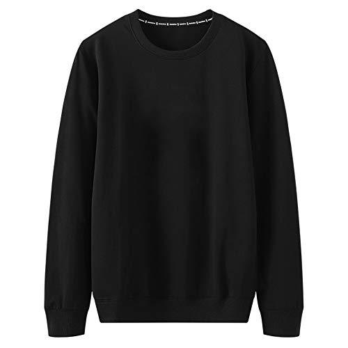 U/A - Jersey de manga larga para hombre, holgado, casual, cuello redondo, para aumentar la grasa, para hombre, manga larga, de manga larga Negro Negro ( XXL