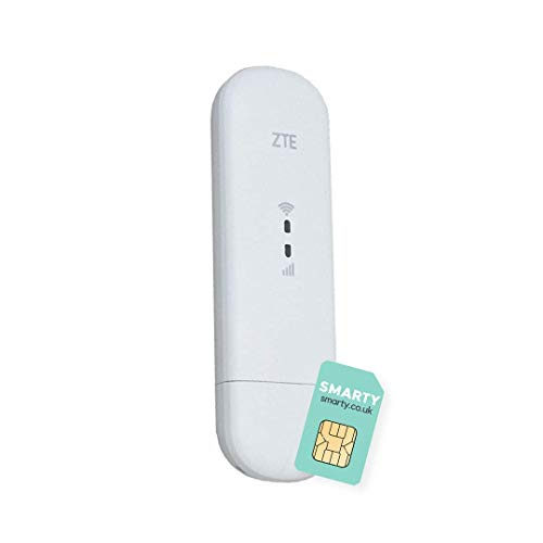 ZTE MF79U, CAT4/4G USB Dongle, Low Cost Travel Wi-Fi, 150Mbps and External Antenna Ports, with FREE SMARTY SIM Card - White