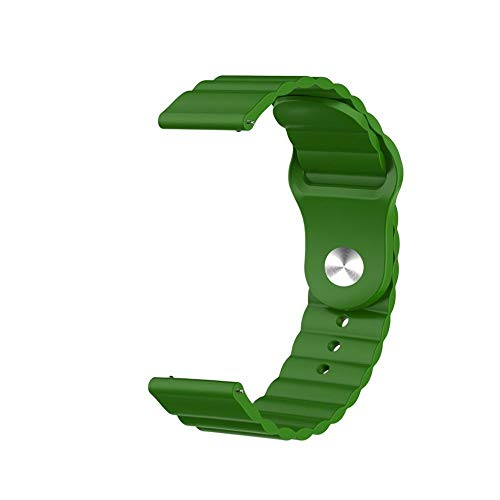 DXFFOK 20mm Silicone Strap For Samsung Galaxy Watch Active 2 For Huawei Watch GT 2 For Honor Magic Watch 2 Amazfit BIP GTS GTR Gear Sport Band (Band Color : Army Green, Band Width : 20mm)
