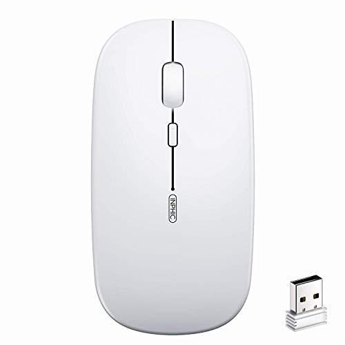 サイレント充電式ワイヤレスマウス inphic サイレントクリックミニオプティカルマウス、ラップトップ、PC、ノートブック、コンピューター、Macbook用ウルトラスリム1600 dpi