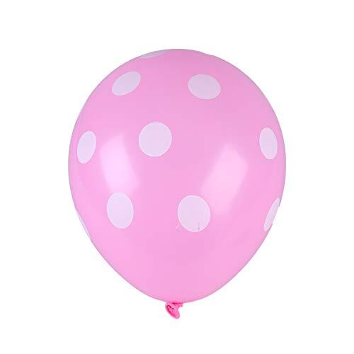 Milisten 50 Piezas de Globos de Látex de 12 Pulgadas Rosa Rojo Y Rosa con Globo Inflable de Lunares Blancos para Fiesta de Cumpleaños de Boda Decoración del Hogar