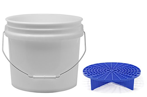 detailmate Set aus US Made Wash Bucket Wasch Eimer 3,5 Gallonen (12,5 Liter) transparent Grit Guard Eimer Einsatz blau