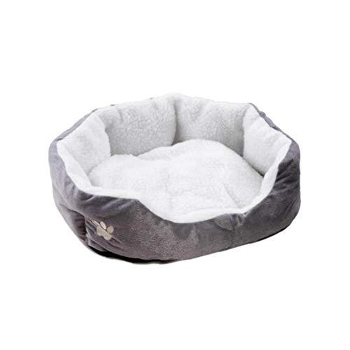 OMMO LEBEINDR Haustier-Bett-Grau S Größe Hund Katze weiche Kissen mit Fleece-Futter Warm Puppy Kitty Schlafenbett Pet Basket Bed