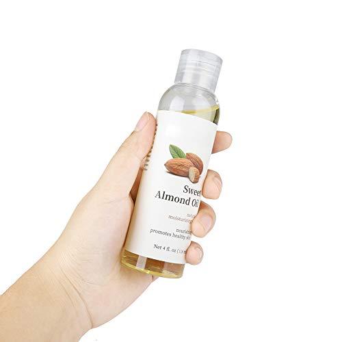 Aceite esencial orgánico de 118 ml para el cuidado de la piel Aceite puro de almendras dulces, aceite de almendras dulces, aceite esencial hidratante para el cuidado corporal