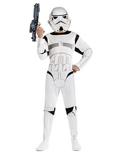 Maat l - 9/10 jaar - kostuum - vermomming - carnaval - halloween - witte krijger - star wars - kind star wars stormtrooper