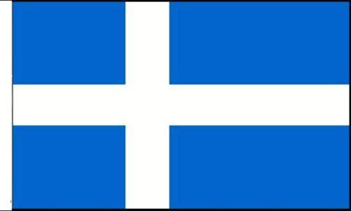 Flagmania® Shetland-Flagge, geeignet für Boote, 45 cm x 30 cm + 59 mm Button
