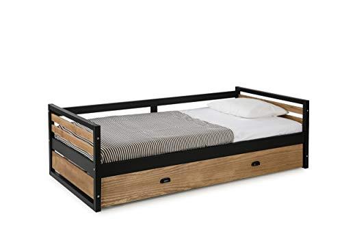 ambiato Manhattan Kinderbed uittrekbaar bed met logeerbed massief houten grenen + zwart tienerbed